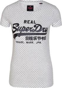 T-shirt Superdry z krótkim rękawem z okrągłym dekoltem z tkaniny
