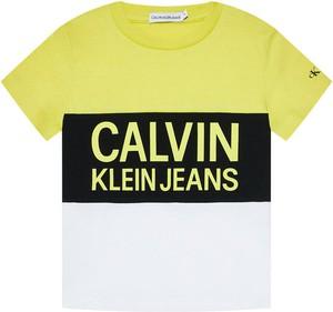 Koszulka dziecięca Calvin Klein z jeansu dla chłopców z krótkim rękawem