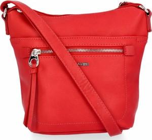 Czerwona torebka David Jones w stylu glamour ze skóry