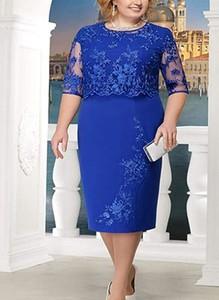 Niebieska sukienka Cikelly z okrągłym dekoltem midi z długim rękawem