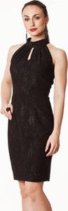 Czarna sukienka semper z dzianiny mini na bal