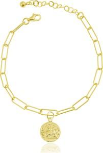 Lian Art Bransoletka Margot Antique z monetą - duże oczka - 24k złocenie