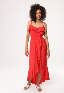Czerwona sukienka born2be maxi z dekoltem w kształcie litery v