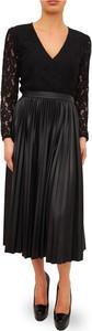 Czarna sukienka Liu-Jo midi z dekoltem w kształcie litery v