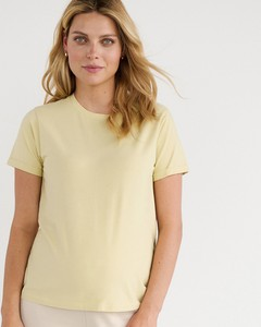 Zielony t-shirt Reserved z okrągłym dekoltem z bawełny w stylu casual