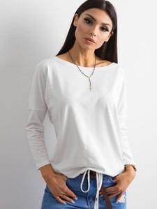 Bluzka Basic z bawełny z długim rękawem z dekoltem w kształcie litery v