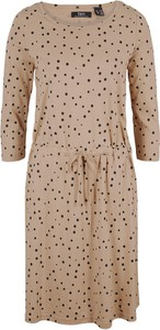 Brązowa sukienka bonprix z długim rękawem z dżerseju
