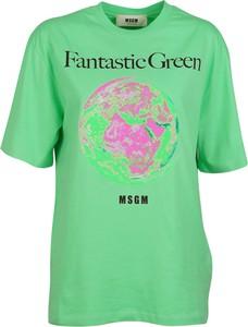 Zielona bluzka MSGM z krótkim rękawem w młodzieżowym stylu