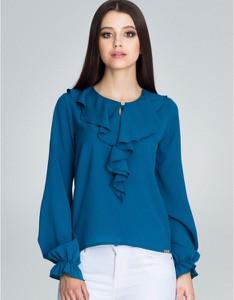Niebieska bluzka Figl z okrągłym dekoltem z długim rękawem