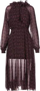 Brązowa sukienka Multu z długim rękawem