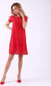 Czerwona sukienka Sheandher.pl z krótkim rękawem z okrągłym dekoltem mini