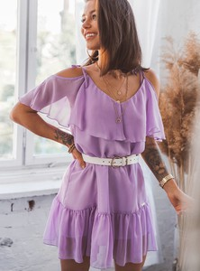 Fioletowa sukienka SELFIEROOM z krótkim rękawem z dekoltem w kształcie litery v trapezowa