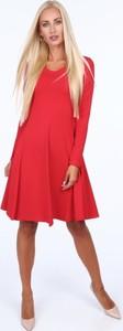 Czerwona sukienka Fasardi rozkloszowana