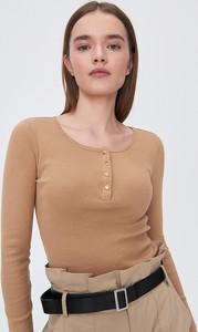 Brązowa bluzka Sinsay w stylu casual z okrągłym dekoltem