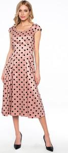 Różowa sukienka Lavard z okrągłym dekoltem midi z krótkim rękawem