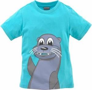 Błękitna koszulka dziecięca kidsworld z dżerseju z napisami z krótkim rękawem