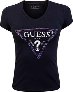 T-shirt Guess w młodzieżowym stylu z okrągłym dekoltem
