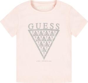 Różowa koszulka dziecięca Guess