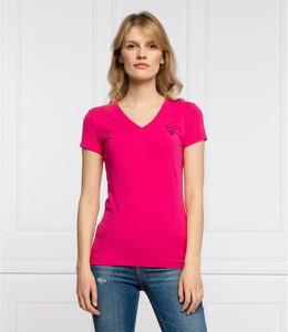 Różowa bluzka Guess z krótkim rękawem w stylu casual z dekoltem w kształcie litery v