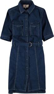 Niebieska sukienka Garcia w stylu casual z kołnierzykiem mini