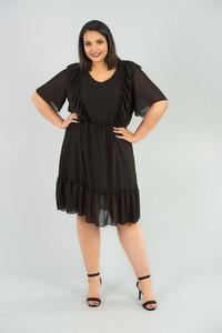 Czarna sukienka KARKO midi z szyfonu z krótkim rękawem
