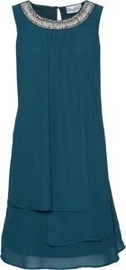 Niebieska sukienka bonprix bpc selection premium bez rękawów