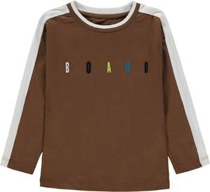 Brązowa koszulka dziecięca Esprit z bawełny dla chłopców z długim rękawem