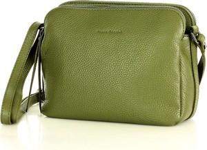 Zielona torebka MAZZINI na ramię ze skóry matowa