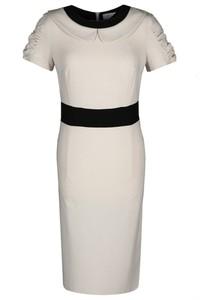 Sukienka Fokus dopasowana z kołnierzykiem w stylu klasycznym