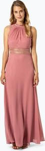 Różowa sukienka VM z okrągłym dekoltem maxi