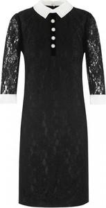 Czarna sukienka L'AF z satyny z długim rękawem