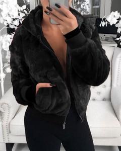 Kendallme Płaszcz ze sztucznego futra z kieszeniami na suwak kurtka czarny