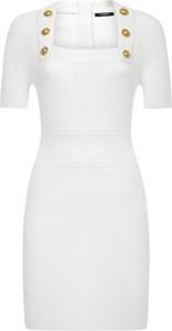 Sukienka Balmain mini z krótkim rękawem z okrągłym dekoltem