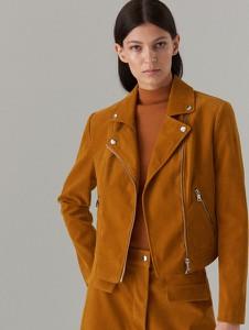 Pomarańczowa kurtka Mohito z zamszu krótka w stylu casual