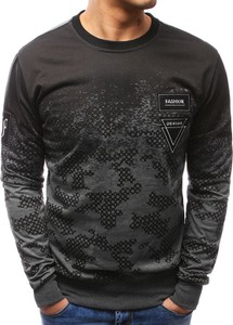 Dstreet bluza męska z nadrukiem camo antracytowa (bx3470)