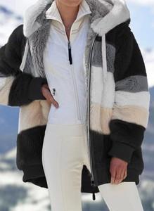 Długi rękaw zapinany zamek kaptur miś pluszowy pasy ciepły zima kurtka Cikelly (S)