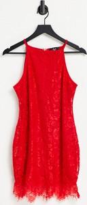 Czerwona sukienka Ax Paris na ramiączkach mini z golfem