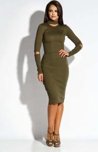 Sukienka Dursi midi z dekoltem typu choker z długim rękawem