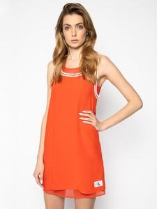 Czerwona sukienka Calvin Klein mini z okrągłym dekoltem bez rękawów