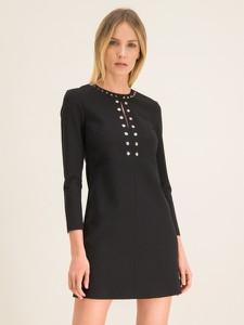 Czarna sukienka Pinko z długim rękawem z okrągłym dekoltem trapezowa