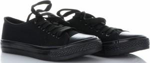 Czarne trampki Ideal Shoes z płaską podeszwą sznurowane z tkaniny