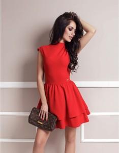 Czerwona sukienka Ivon z tiulu