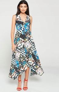Sukienka Ax Paris z dekoltem w kształcie litery v na ramiączkach asymetryczna