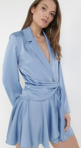 Niebieska sukienka born2be w stylu casual mini