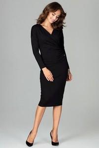 Sukienka LENITIF dopasowana z długim rękawem
