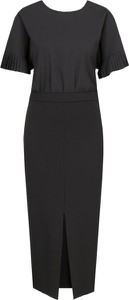 Czarna sukienka Twinset z okrągłym dekoltem z krótkim rękawem
