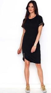 Sukienka Makadamia z krótkim rękawem z dresówki prosta