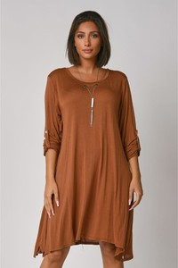 Sukienka Plus Size Fashion z okrągłym dekoltem z długim rękawem w stylu casual