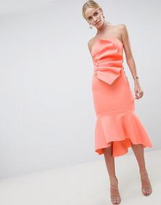 Pomarańczowa sukienka Asos baskinka z tkaniny