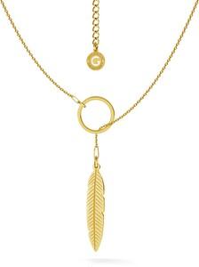 GIORRE SREBRNY NASZYJNIK LIŚĆ CELEBRYTKA 925 : Kolor pokrycia srebra - Pokrycie Żółtym 24K Złotem